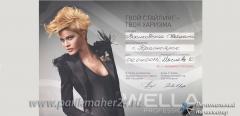 Сертификат Твой стайлинг - твоя харизма, Wella professionals 2011 г.